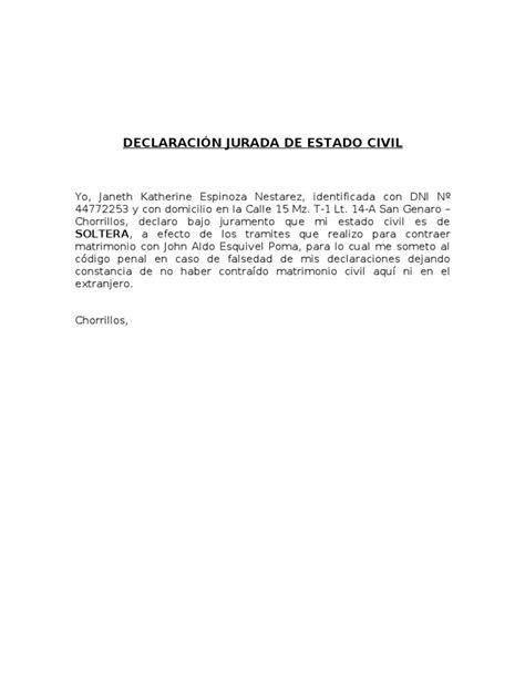 declaracion jurada de matrimonio declaraci 211 n jurada de estado civil