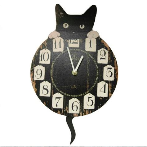 cat clock with swinging tail gorgeous cat wall clock with pendulum tail design kitchen