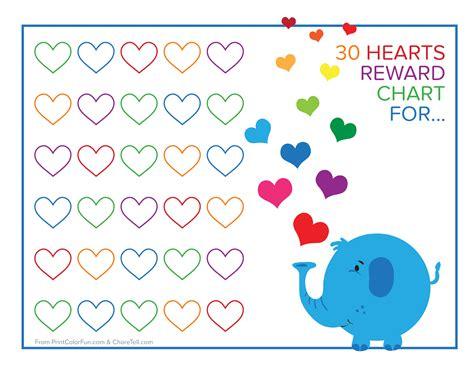 free printable animal reward charts elephant and rainbow hearts reward chart free printable