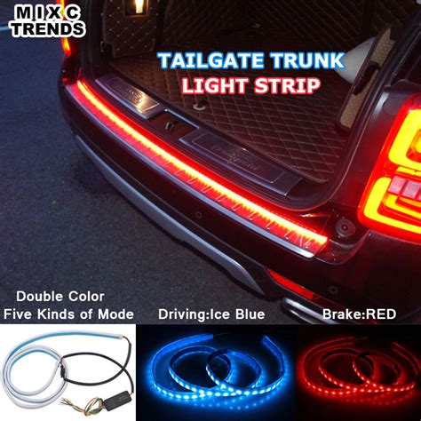 blue led flowing rear trunk light dynamic streamer brake turn signal