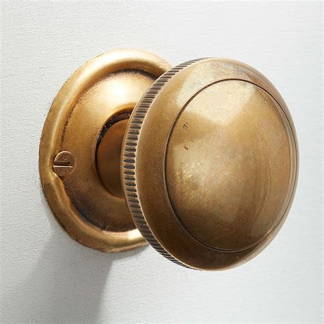 Satin Brass Door Knobs by Milled Edge Door Knobs 45mm Antique Satin Brass