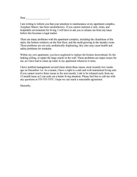 Complaint Letter Cleaning Company Apartment Maintenance Complaint Letter