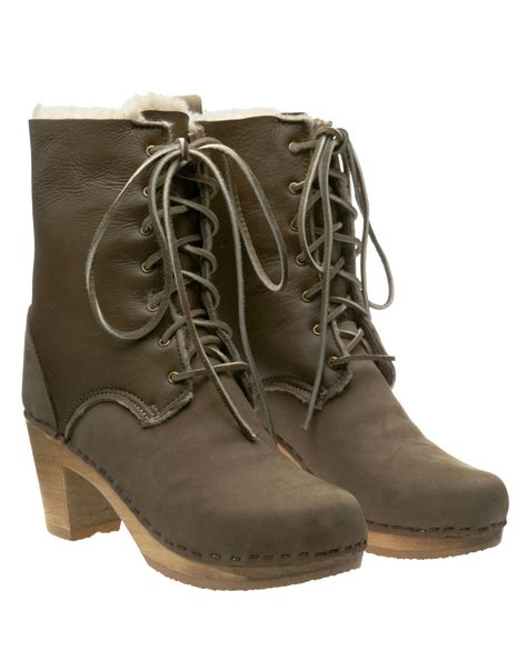 no 6 clog boots no 6 lace up clog boot in brown beige lyst