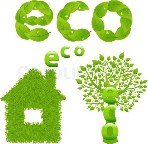 eco design elements vector eco design elements green tree house and word from