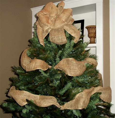 burlap christmas tree topper bow with garland ribbon tree