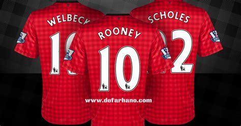 30318 Kit Kristik Bola Pola Di Kain jersi baru manchester united 2012 2013 home away kit defarhano