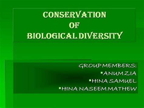 Conservation Of Biodiversity Authorstream Biodiversity Ppt Template Free