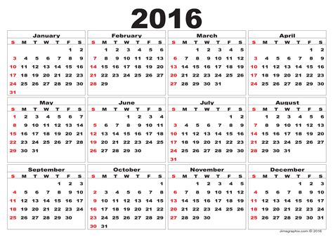 Free Kalender 2016 2016 Calendar