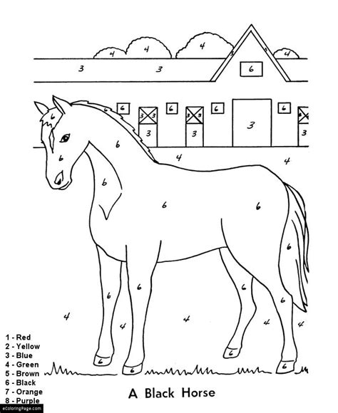 Horse Coloring Pages By Numbers | horse and farm color by numbers printable page fun