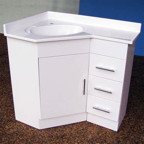 Ideas For Tiny Bathrooms by Corner Vanity 690r 610x910mm Polyurethane Corner Vanity