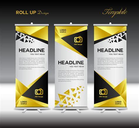 design banner kosmetik gold roll up banner template stand template vector