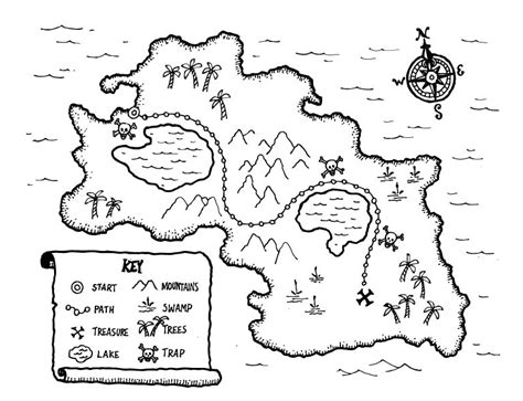 map key template printable treasure map coloringpagebook