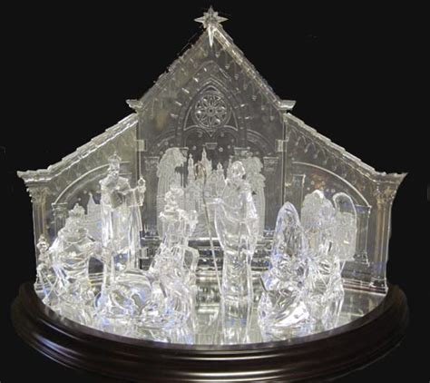 elegant acrylic light up nativity scene 12 piece set ebay