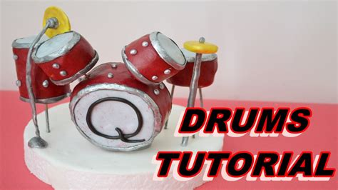 tutorial drum set drums tutorial cake topper fondant sugar paste torta