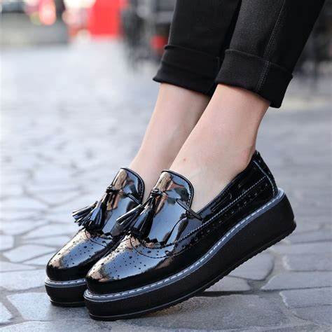 Brogue Pointed Oxfords high quality oxford flats platform shoes patent