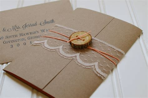 rustic wood slice and lace wedding invitations unique