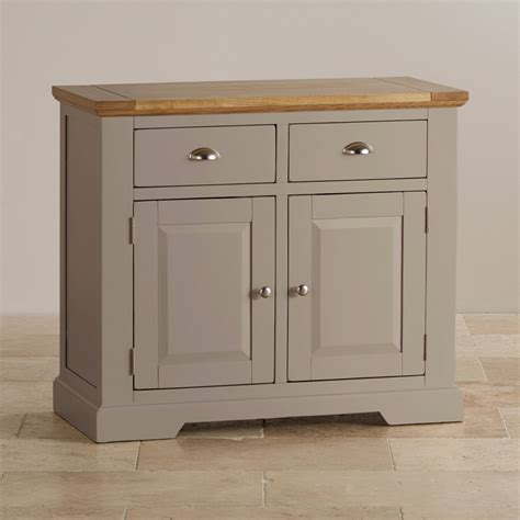 Rustic Country Kitchen Cabinets by Natural Oak And Light Grey Painted Small Sideboard