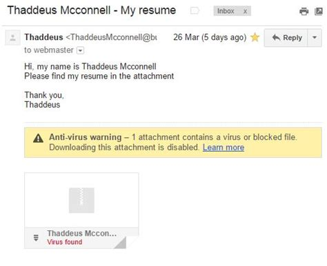 thaddeus mcconnell my resume scam virus clever