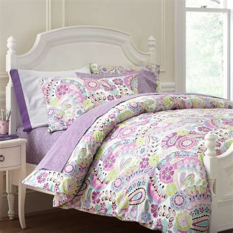 girls purple comforter paisley pop duvet cover pillowcases pbteen girls