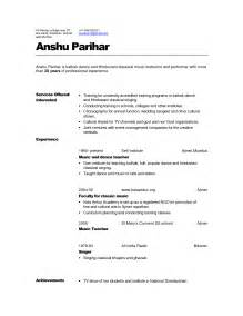 Sample Music Resume For College Application