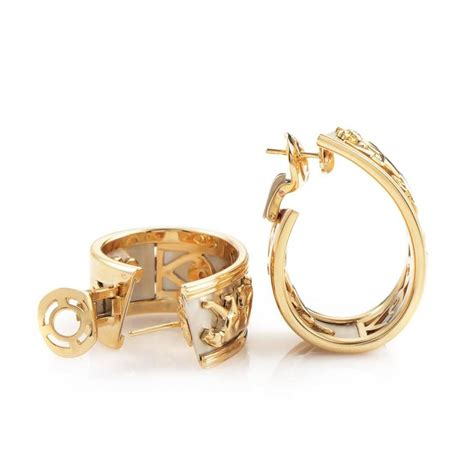 Bring Out The Hoops by Cartier Panthere Two Color Gold Hoop Earrings For Sale At