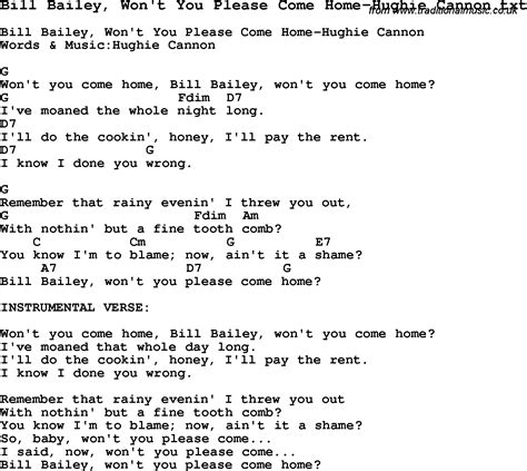 baby wont you come home chords jazz song bill bailey won t you come home hughie