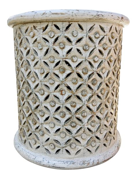 white carved side table distressed white carved side table chairish
