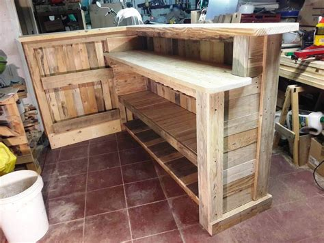how to build a wood bar top diy pallet bar with custom built in shelves 101 pallet ideas