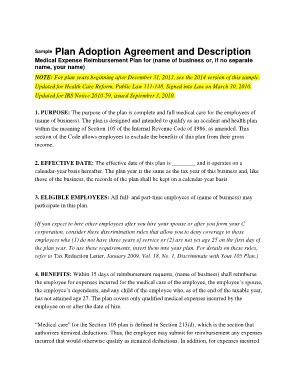 section 105 medical reimbursement plan irs fillable online sle plan adoption agreement and