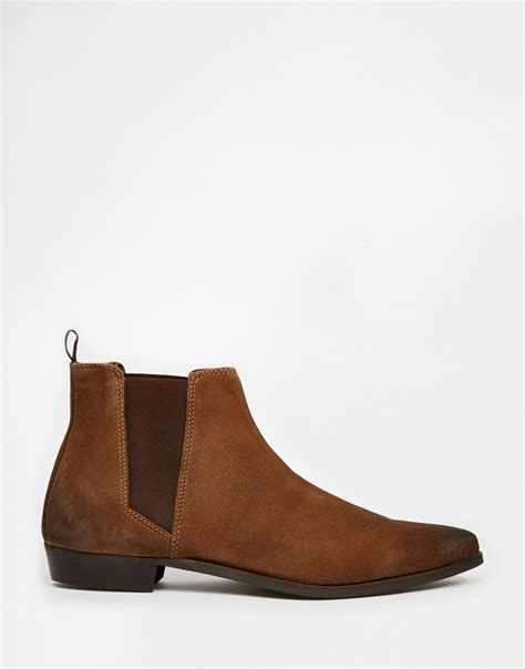 brown chelsea boots lyst asos pointed chelsea boots in brown suede in brown