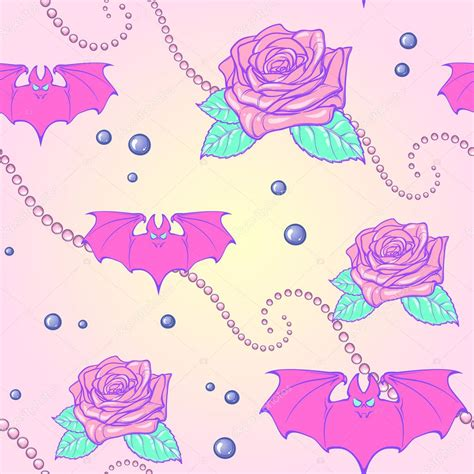 pattern pastel goth pastel goth moon bats and pearls seamless pattern stock