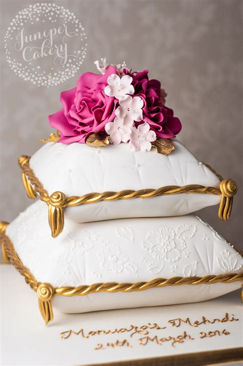 Wedding Cake Your Pillow by Mehndi Pillow Cake With Bright Pink Roses