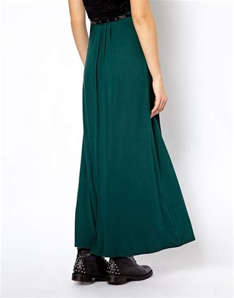 asos new look jersey maxi skirt with belt in green