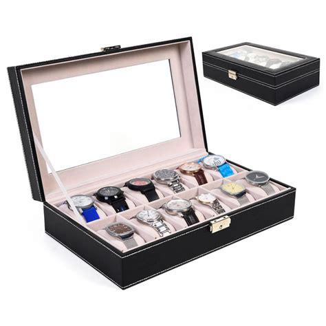 12 slot leather box display organizer glass top