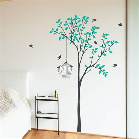 Wall Sticker Leaves 3 Cages Jm7259 tree with hanging bird cage wall sticker wallboss wall stickers wall stickers uk wall