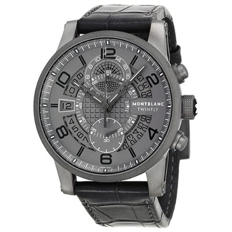Montblanc Flyback Leather Bw For montblanc 1858 black leather mens 113860 www carrywatches