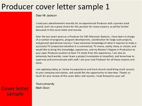 Tv Show Producer Cover Letter by Producer Cover Letter