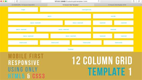 responsive grid template mobile responsive 12 column grid template 1 using
