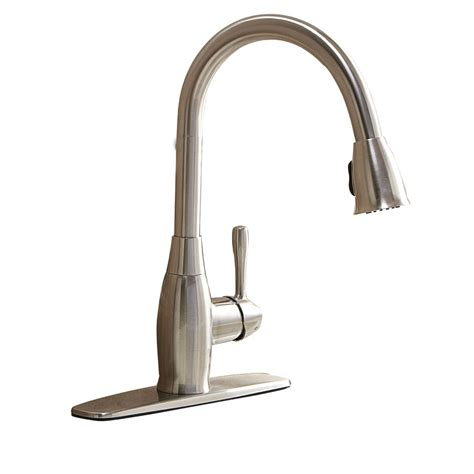 shop aquasource brushed nickel 1 handle pull down kitchen faucet at lowes com
