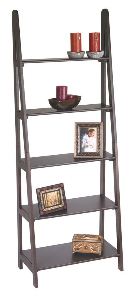 Espresso Finish Wood Ladder Style Book Case Shelf Ladder Style Bookshelves