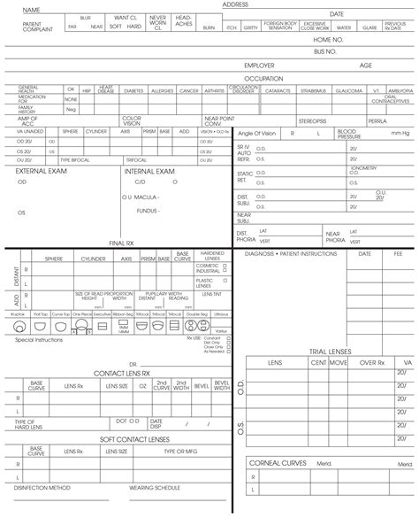 Keskes Printing Optometrists Optometry Form Template