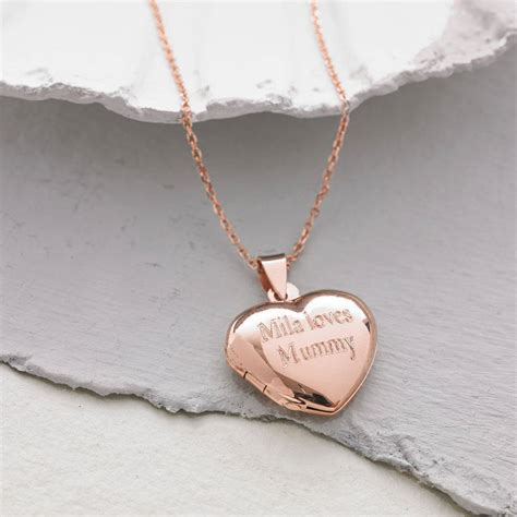 rose gold personalised 18ct rose gold vermeil heart locket by