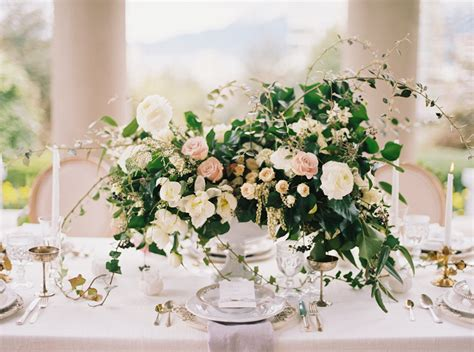 Blush And Ivory Centerpiece With Greenery Elizabeth Anne Greenery For Wedding Centerpieces