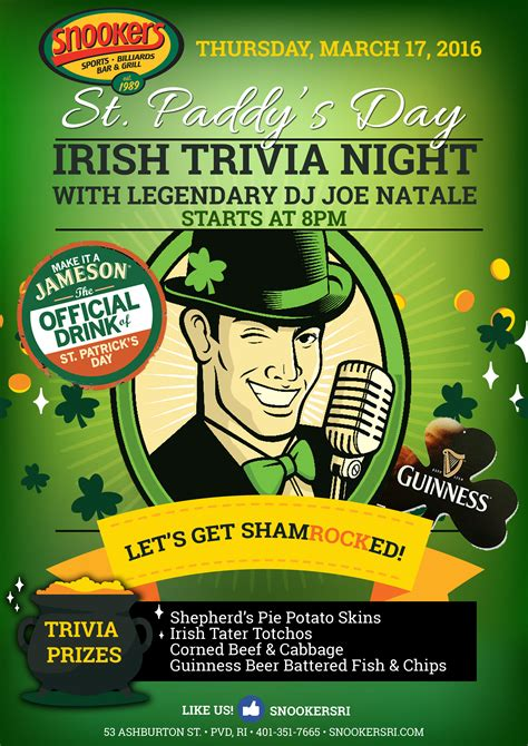 Trivia Sweepstakes - goingout com snookers event st paddy s day food specials trivia prizes