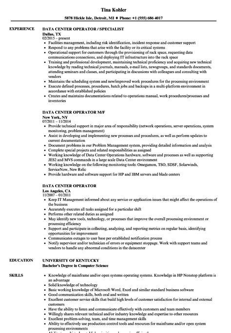 Data Center Operator Cover Letter by Data Center Operator Sle Resume Graphics Programmer Sle Resume