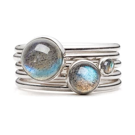 Handmade Stacking Rings - sterling silver stacking rings with labradorite by
