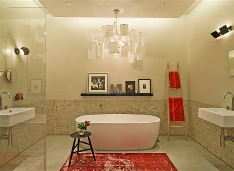 red accent bathroom stepping it up in style 50 ladder shelves and display ideas