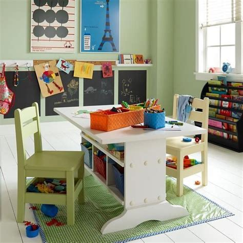 play desk for school age room design with student desks and bright