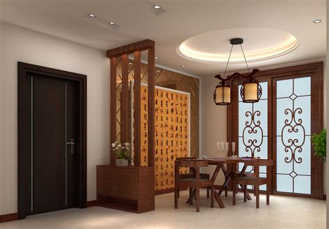 wooden partition wall chinese style dining room with tatami mats and blinds 3d