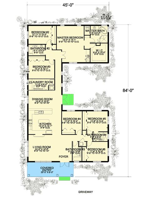 us homes floor plans 6 bedroom u shaped house plan 32221aa architectural